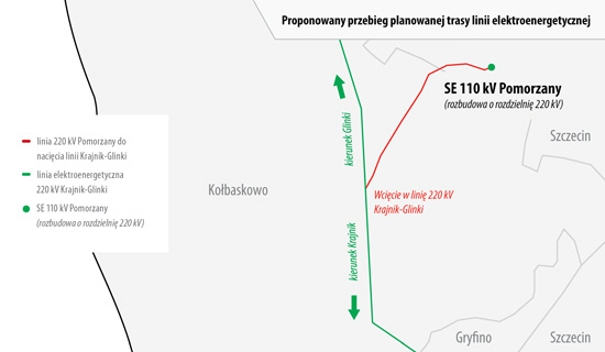 Proponowany przebieg planowanej trasy linii elektroenergetycznej